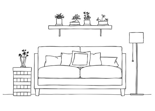 Interior in sketch style. Sofa, bedside table, floor lamp and shelf with plants.