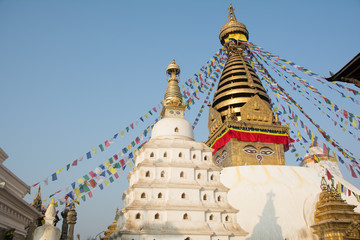 Swayambhunath Stupa (and its eyes) or Monkey Temple of Kathmandu. Taken in Nepal, January 2019