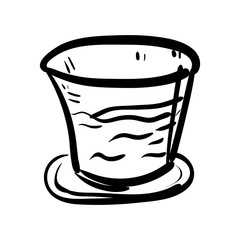 Handdrawn glass doodle icon. Hand drawn black sketch. Sign symbol. Decoration element. White background. Isolated. Flat design. Vector illustration