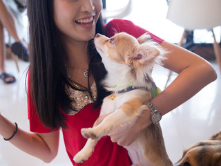 Portrait of Asian woman with dog.Gril playing with her dog in House.