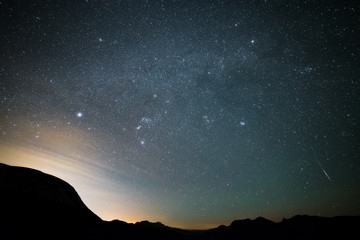 Northern Nevada Iridium Flare with Milky Way Galaxy Visible Above in Night Sky