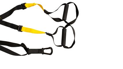 Black trx loop functional training equipment on white background isolated. Sport accessories, top view. Fitness and Gym workout items for Healthy.