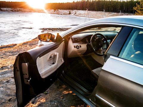 Metallic Volkswagen Passat cc at the Manniku Lake