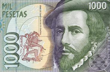 Hernan Cortes portrait on Spanish 1000 peseta (1992).  Spanish Conquistador, colonizer of Mexico..