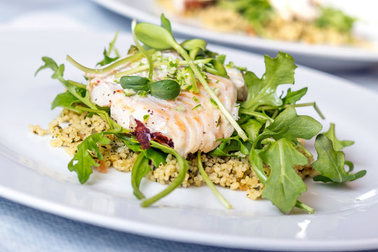 cooked sea bass  fish fillet