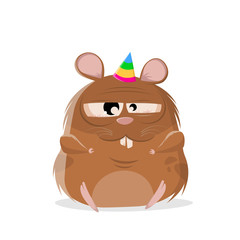 funny cartoon illustration of a lazy party hamster