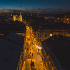 aerial view. sunset over old european city