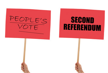 BREXIT banners, placards in hand isolated on white. Remain, second referendum.
