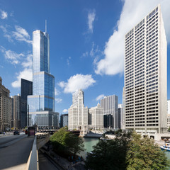 Street, buildings and blue sky in Chicago