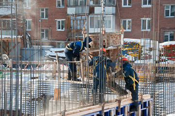Preparation for pouring concrete. Construction of reinforced concrete.