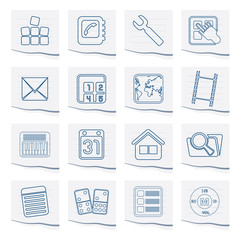Mobile Phone and Computer icons on a piece of paper - Vector Icon Set