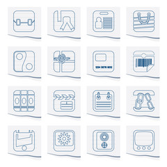 Business and Internet Icons on a piece of paper - Vector Icon Set