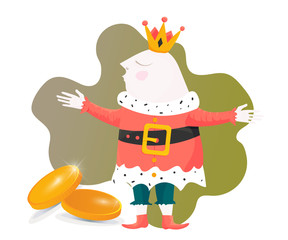Big Win illustration in a cartoon style: Happy King gifting gold coins. Great also as cash back poster or raffle ticket template.