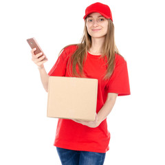 Delivery woman in red uniform holding box package and smartphone isolated on white background