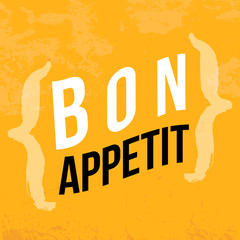 Bon Appetit poster design illustration for wall. Typography wallpaper