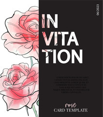 Flowers rose poster. Vector typography slogan with b/w natural sketch  illustration. Summer modern contrast print.