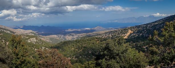 Agios Nikolaos, Crete - 09 30 2018: The road to the Katharo plateau