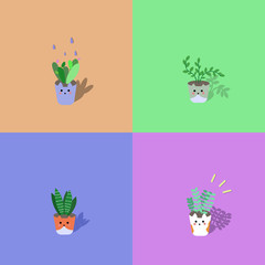 set of cute flower pots on colorful background