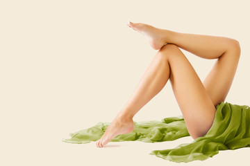 Woman Legs Beauty and Body Skin Care, Female Epilation and Hair Removal