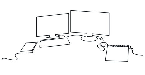 Modern workspace continuous one line vector drawing