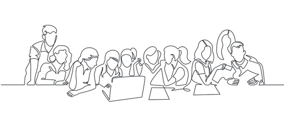 Group of people working continuous one line vector drawing