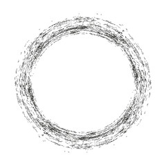 vector brush strokes circles of paint on white background. Ink hand drawn paint brush circle. Logo, label design element vector illustration. Black abstract circle. Frame.