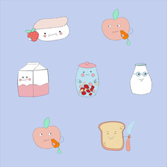 set of heroes of stickers healthy food for  web design and social network. .Milk, bread, yogurt, apple