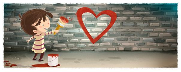 niño pintando un corazon en la pared