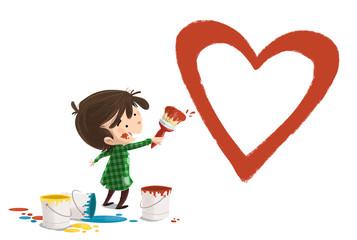niño pintando un corazon