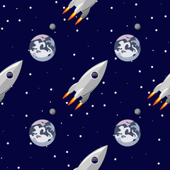 Rocket flies near the planet Earth seamless pattern. Space print