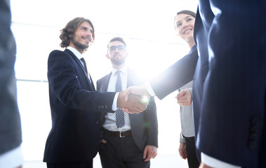 business people handshaking after good deal.