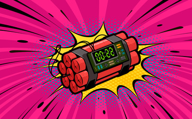 Dynamite explosion, bomb detonation. Retro pop art style. Cartoon comic vector illustration