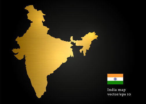 India Country Map Gold Texture Vector Design Image