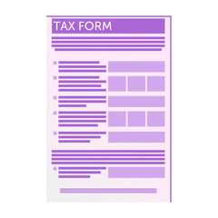 Tax Form Symbol isolated. Web Flat Application. Graphic Pictogram of Taxes Finance Report.