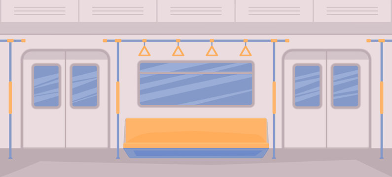 Subway train car inside. Interior with seats, a door for entrance and exit, handrails, window.