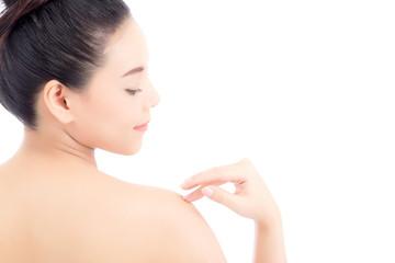 Portrait of beautiful asian woman makeup of cosmetic, girl touch shoulder and smile attractive, face of beauty perfect with wellness isolated on white background with skin healthcare concept.