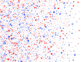Flying red blue white star sparkles on white vector american patriotic background.