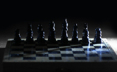 king and pawns on the chessboard.strategy concept