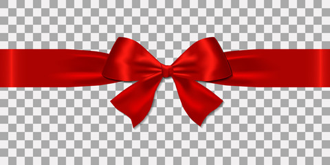 Realistic decorative shiny satin red ribbons and bow  isolated on transparent background.