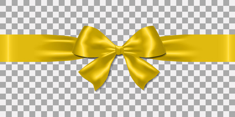 Realistic decorative shiny satin golden ribbons and bow  isolated on transparent background.