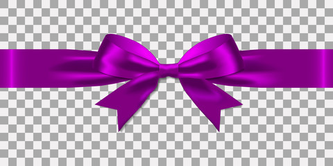 Realistic decorative shiny satin purple ribbons and bow  isolated on transparent background.