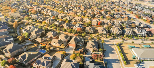 Panorama view aerial view new development neighborhood in Cedar Hill, Texas, USA in morning fall with colorful leaves. A city in Dallas and Ellis counties located 16 miles southwest of downtown