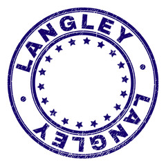 LANGLEY stamp seal imprint with grunge effect. Designed with circles and stars. Blue vector rubber print of LANGLEY caption with grunge texture.