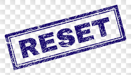 RESET stamp seal print with grunge style and double framed rectangle shape. Stamp is placed on a transparent background. Blue vector rubber print of RESET tag with unclean texture.