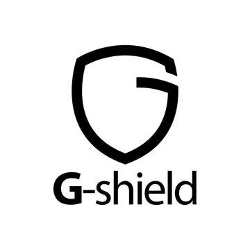 Shield initial black line letter G logo concept design