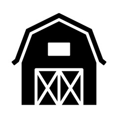 Western prairie barn house front view flat vector icon for farm apps and websites