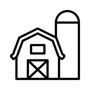 Prairie barn house with grain storage silo line art vector icon for farm apps and websites