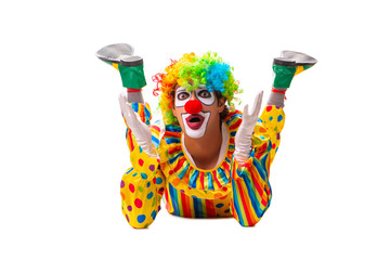 Male clown isolated on white  Wall mural