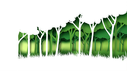 Eco green nature forest background template.Forest plantation with ecology and environment conservation creative idea concept paper art style.Vector illustration. Wall mural