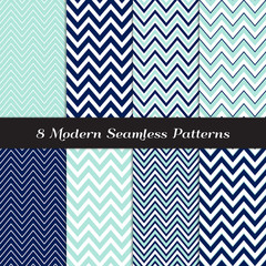 Nautical Navy Blue, Aqua and White Chevron Seamless Patterns. Nautical Backgrounds. Various Width Zigzag Stripes. Repeating Pattern Tile Swatches Included.